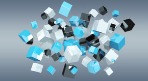 Floating blue shiny cube network 3D rendering. On grey background Royalty Free Stock Images