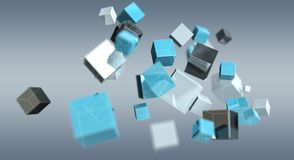 Floating blue shiny cube network 3D rendering. On grey background Royalty Free Stock Image