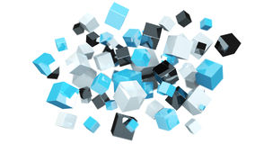 Floating blue shiny cube network 3D rendering. On white background Stock Photo