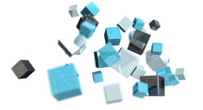 Floating blue shiny cube network 3D rendering. On white background Stock Photos