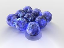 Floating blue spheres Stock Photo