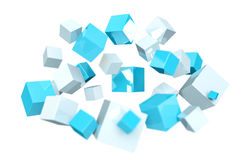 Floating blue and white shiny cube 3D rendering. Floating blue and white shiny cube on white background 3D rendering Stock Photos