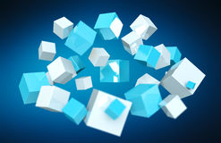 Floating blue and white shiny cube 3D rendering. Floating blue and white shiny cube on blue background 3D rendering Stock Photography