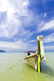 Floating boat. The rent boat waiting for tourism Stock Image