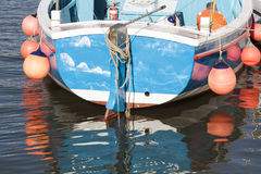 Floating boat in the bay. Floating boat in the whitby bay Stock Photo