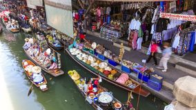 Floating Boat Market 3 Time Lapse Thailand stock footage