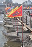Floating boat in the scenic spot of Fotang Town, Zhejiang Province, China royalty free stock image