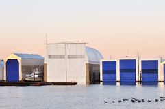 Floating boathouse Stock Photography