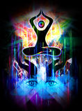 Floating body eyes and hands. Spiritual illustration of dark floating body in mediation, hands and eyes with colorful beams of light vector illustration