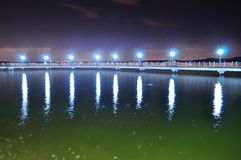 Floating bridge at Changi Beach by night Stock Images