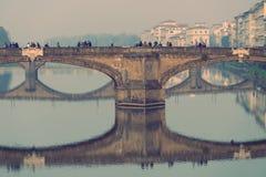 Floating bridge Florence faded Stock Image