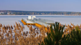 Floating bridge in winter Stock Photo