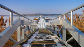 Floating bridge in winter Royalty Free Stock Image