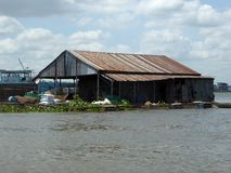 Floating building on the mekong river delta Stock Photography