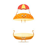 Floating bun with sesame. Cute funny character with happy face. Kids menu illustration. Fresh and tasty food on white background. Bread roll for the burger Stock Photo