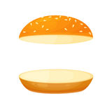 Floating bun with sesame. Menu or a recipe illustration. Fresh and tasty food or cooking ingredient isolated on white background. Bread roll for the burger Royalty Free Stock Image
