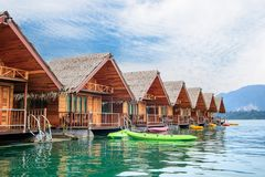 Floating bungalow in Ratchaprapa dam, Thailand royalty free stock images