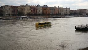 A floating bus. Sightseeing tour with a floating bus in Danube in Budapest Stock Photos