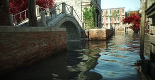 Floating in the Canal`s of the enchanting romantic architecture and waterways of Italy. royalty free stock photos