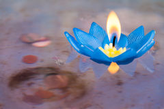 Floating candle in the faith of Buddhism Stock Photos
