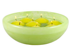 Floating candles. Floating candles in a pot with water Stock Photography