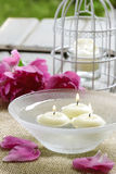 Floating candles in water Royalty Free Stock Photography