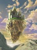 Floating castle. Fantasy castle floating on a big rock over a gorgeous sunset landscape. Digital illustration Royalty Free Stock Image
