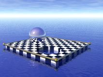 Floating chess board. With metal sphere Royalty Free Stock Photo