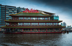 Floating Chinese restaurant in Amsterdam Royalty Free Stock Images
