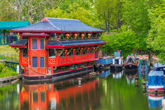 Floating Chinese Restaurant. On Regent's canal Stock Photography