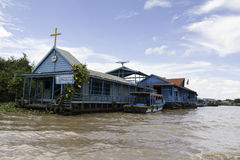 Floating chruch on Tonle Sap Stock Photos