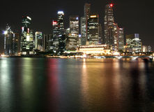 Floating City 3. Singapore CBD at night with lights royalty free stock images