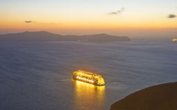 Floating city off Santorini? Royalty Free Stock Image