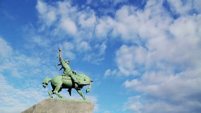 Floating clouds over monument of Salavat Yulayev stock video