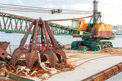 Floating crane on the barge. stock photo