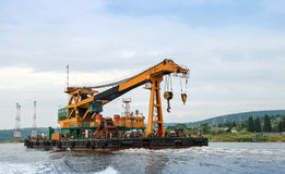 Floating crane underway in Varna port Stock Image