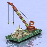 Floating crane on water Royalty Free Stock Photography
