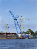Floating crane working Stock Image