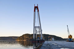 Floating cranes. Large floating crane moored moored to the port of Halden Royalty Free Stock Images