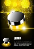 Floating cream with gold dust and hexagon lights on dark backgro royalty free stock images