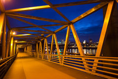 Floating crosswalk of metal structures along river Willamette wi Stock Photo