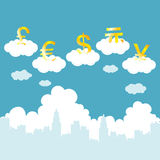 Floating Currencies Royalty Free Stock Photos
