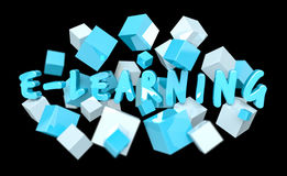 Floating 3D render e-learning presentation with cube Stock Photography