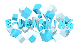 Floating 3D render e-learning presentation with cube Stock Images