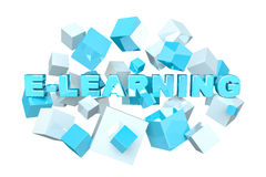 Floating 3D render e-learning presentation with cube Royalty Free Stock Photography