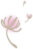 Floating dandelions in the wind vector. Floating pink dandelions in the wind vector illustration Royalty Free Stock Image