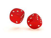 Floating dices. Two floating red dices on a white background Royalty Free Stock Images
