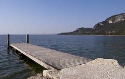 Floating dock in Garda Stock Image
