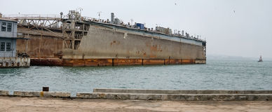 Floating dock in Kerch Royalty Free Stock Images
