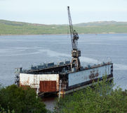 Floating dock in Kola Bay Stock Image